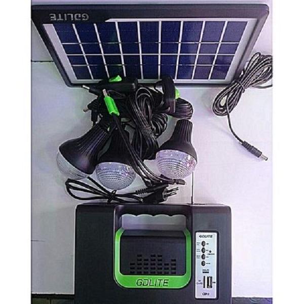 Set panou solar Gdplus GD 7, 3 becuri, lanterna inclusa