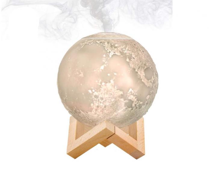 Umidificator lampa veghe, luna 3D suport de lemn
