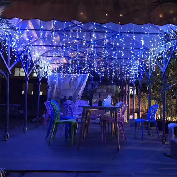 Instalatie de Craciun, tip turturi, 4 m, 100 leduri, Albastra