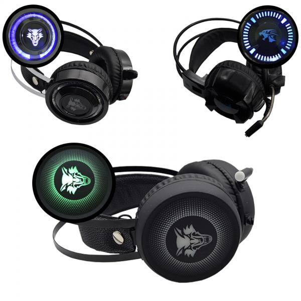 Casti Gaming Pro Bass cu microfon si lumini