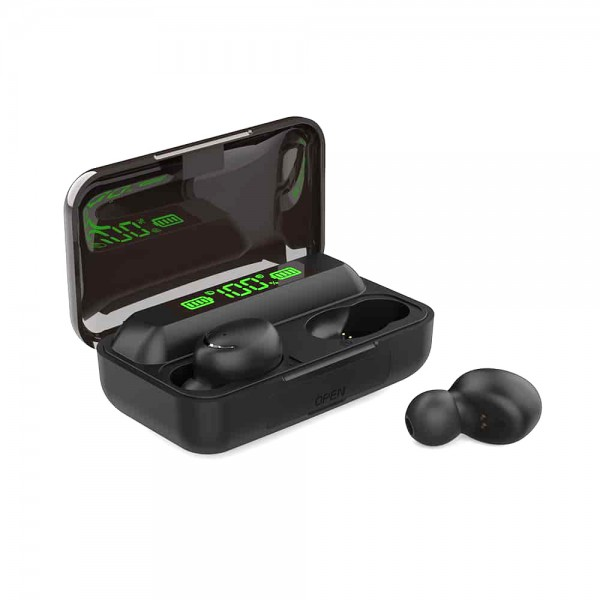 Set 2 Casti Bluetooth TWS F9, toc incarcare, negru