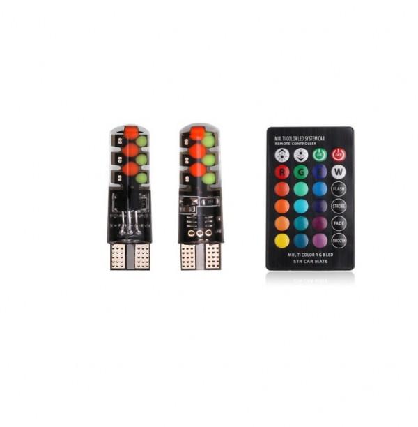 Set 2 becuri LED RGB colorate pentru pozitie
