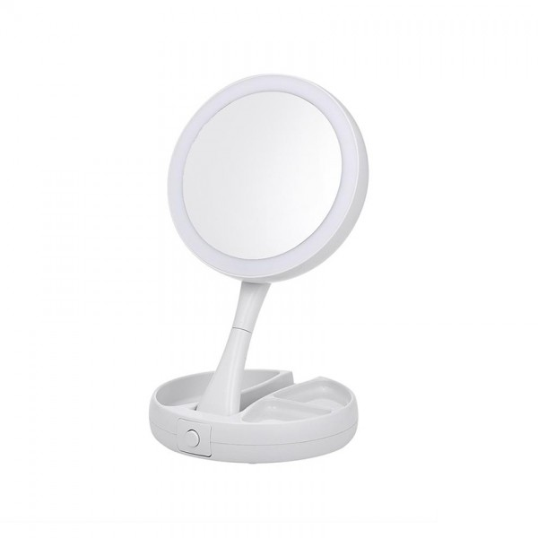 Oglinda cosmetica cu iluminare, pliabila