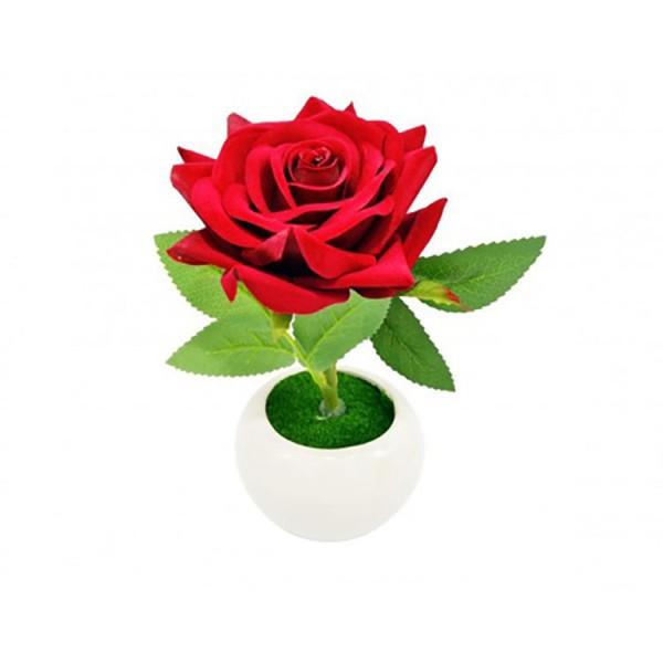 Trandafir artificial in suport ceramic, 19 cm