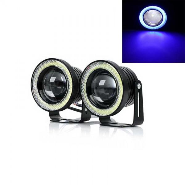 Set 2 proiectoare auto cu LED Angel Eyes, 89mm