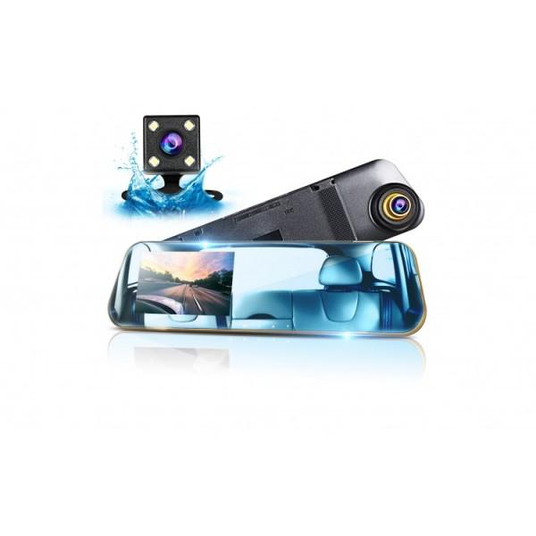 Camera video auto FullHD dubla tip oglinda, ecran 4.3 inch