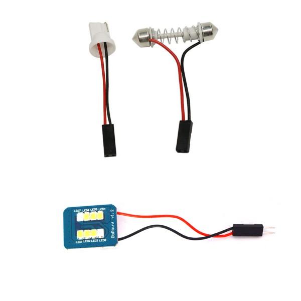 Placuta LED 8 smd cu adaptor C5W si T10, CBT 507